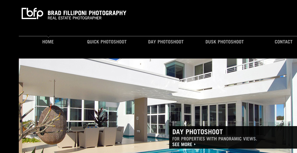The home page features a rotating banner that links to each of the different photography services that Brad Filliponi provides.